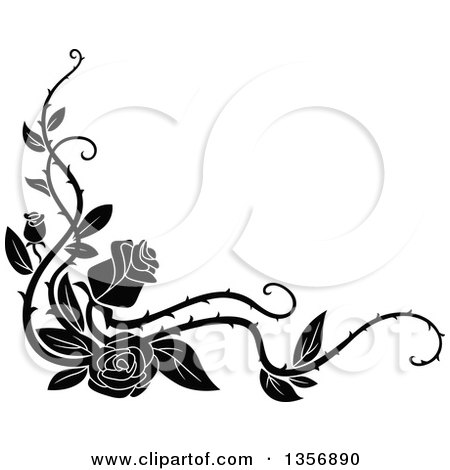 Clipart Of A Black And White Corner Floral Rose Vine