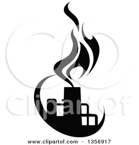 Clipart of Black and White Silhouetted Natural Gas and Flame Factory - Royalty Free Vector Illustration by Vector Tradition SM