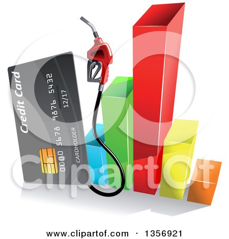 Clipart of a Gray Gas Pump Credit Card over a 3d Colorful Bar Graph - Royalty Free Vector Illustration by Vector Tradition SM