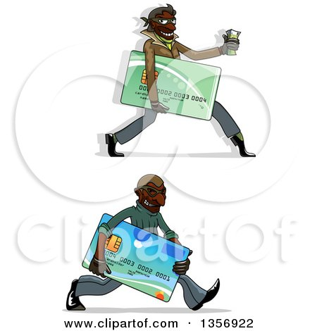 Clipart of Black Male Hacker Identity Thieves Carrying Credit Cards and Cash - Royalty Free Vector Illustration by Vector Tradition SM
