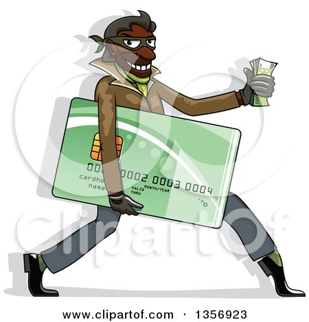 Clipart of a Black Male Hacker Identity Thief Carrying a Credit Card and Cash - Royalty Free Vector Illustration by Vector Tradition SM