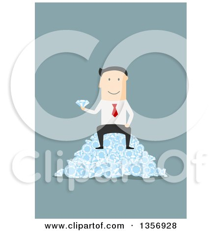 Clipart of a Flat Design White Businessman Sitting on a Pile of Diamonds, on Blue - Royalty Free Vector Illustration by Vector Tradition SM
