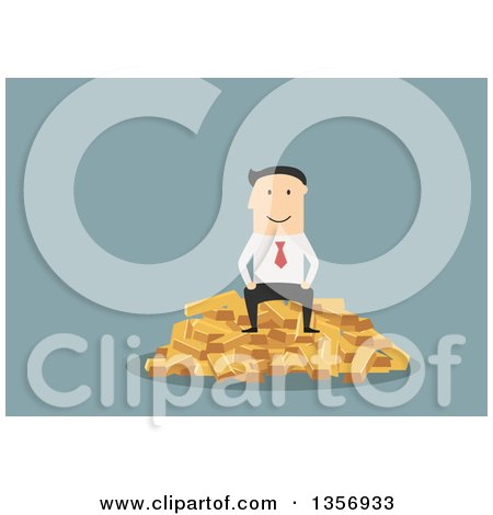 Flat Design White Businessman Sitting on Gold Bars, on Blue Posters, Art Prints