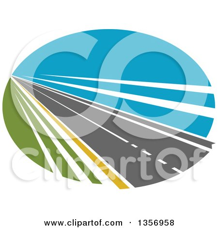 Clipart of a Two Lane Straightaway Highway Road in an Oval - Royalty Free Vector Illustration by Vector Tradition SM