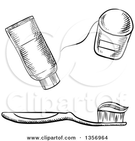 Clipart of a Black and White Sketched Toothbrush with Paste, Floss and Tube - Royalty Free Vector Illustration by Vector Tradition SM