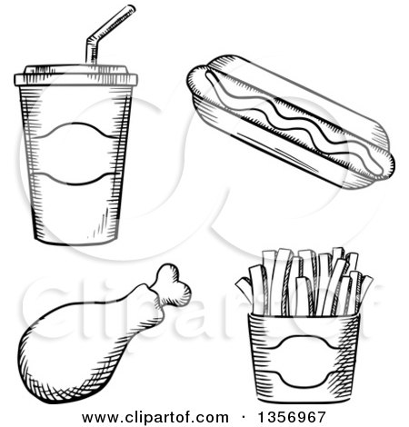 Clipart of a Black and White Sketched Fountain Soda, Hot Dog, Chicken Drumstick and French Fries - Royalty Free Vector Illustration by Vector Tradition SM