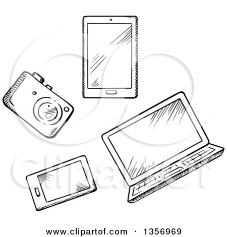 Clipart of a Black and White Sketched Camera, Tablet, Laptop and Smart Phone - Royalty Free Vector Illustration by Vector Tradition SM