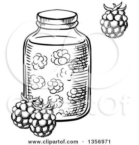 Clipart of a Black and White Sketched Jar of Raspberry Jam - Royalty Free Vector Illustration by Vector Tradition SM
