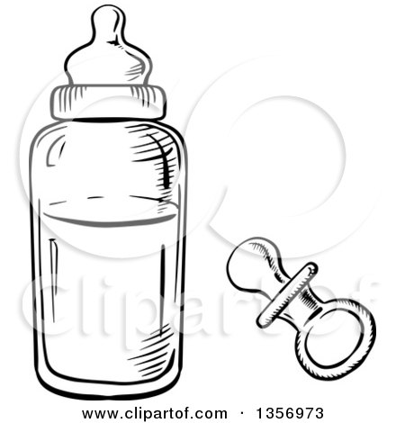 clipart of a black and white sketched pacifier and baby bottle royalty free vector. Black Bedroom Furniture Sets. Home Design Ideas