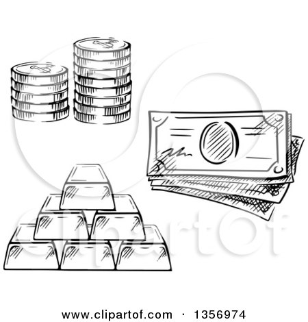 Black and White Sketched Stack of Coins, Cash Money and Gold Bars Posters, Art Prints