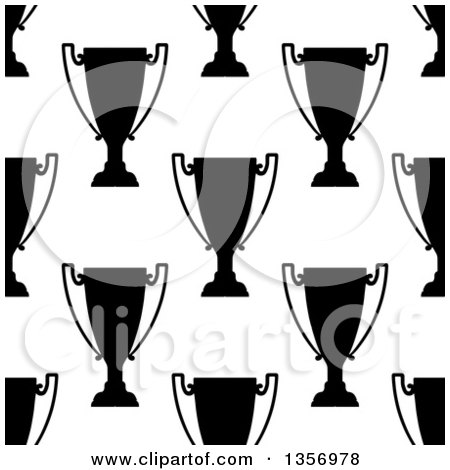 Clipart of a Seamless Background Pattern of Black and White Silhouetted Urns or Trophies - Royalty Free Vector Illustration by Vector Tradition SM