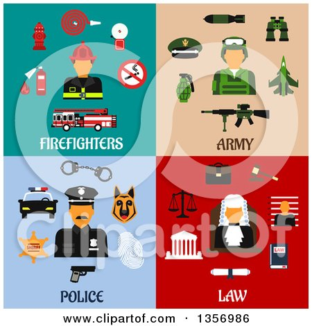 Clipart of Flat Design Firefighter, Army, Police and Judge Designs - Royalty Free Vector Illustration by Vector Tradition SM