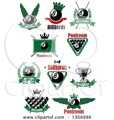 Clipart of Billiards Eightball Pool Designs with Text - Royalty Free Vector Illustration by Vector Tradition SM
