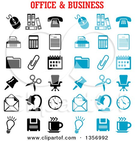 Clipart of Black and Blue Office and Business Icons - Royalty Free Vector Illustration by Vector Tradition SM