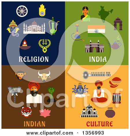 Clipart of Flat Design Indian, Religion and Cultire Icons - Royalty Free Vector Illustration by Vector Tradition SM