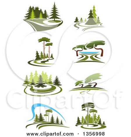Clipart of Park Landscapes - Royalty Free Vector Illustration by Vector Tradition SM