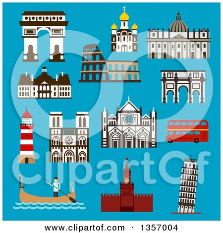 Clipart of Flat Design Architectural Landmarks of Italy, France, Russia and Great Britain on Blue - Royalty Free Vector Illustration by Vector Tradition SM