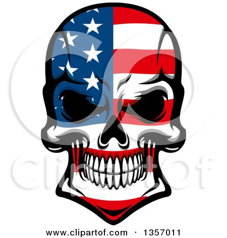 Clipart of a Grinning Evil Skull in American Flag Colors - Royalty Free Vector Illustration by Vector Tradition SM