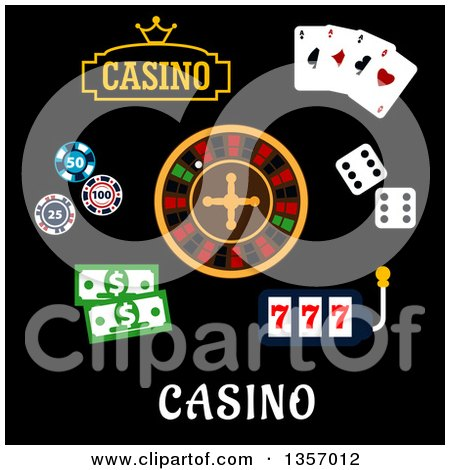 Clipart of Flat Design Casino Items over Text - Royalty Free Vector Illustration by Vector Tradition SM