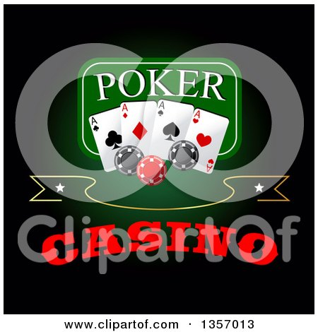 Clipart of a Poker Design of Playing Cards and Chips over Text on Green and Black - Royalty Free Vector Illustration by Vector Tradition SM
