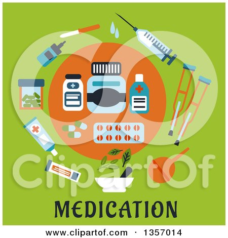 Clipart of a Circle of Flat Design Medicines over Text on Green - Royalty Free Vector Illustration by Vector Tradition SM