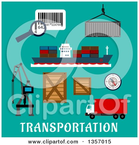 Clipart of Flat Design Container Ship, Cargo Crane, Wooden and Steel Containers, Barcode with Magnifier, Compass and Delivery Truck over Text on Turquoise - Royalty Free Vector Illustration by Vector Tradition SM