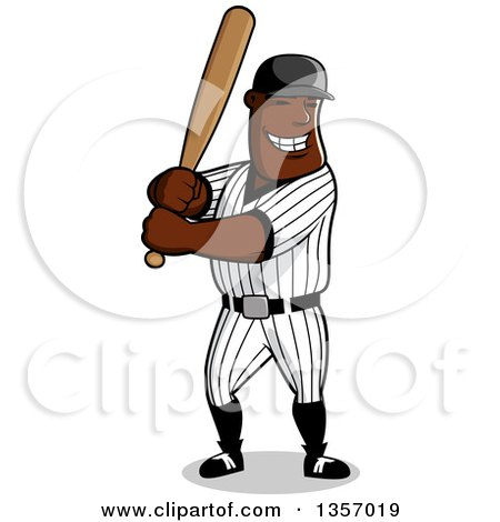 Clipart of a Cartoon Happy Grinning Black Male Baseball Player Batting - Royalty Free Vector Illustration by Vector Tradition SM