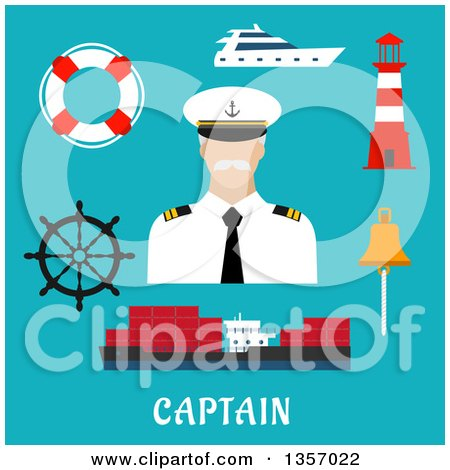 Clipart of a Flat Design Captain with a Helm, Cargo Ship, Yacht, Lifebuoy, Bell and Lighthouse over Text on Blue - Royalty Free Vector Illustration by Vector Tradition SM