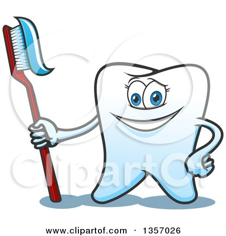 Clipart of a Cartoon Tooth Character Standing Proudly with a ...