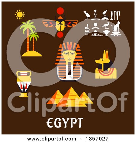 Clipart of Flat Design Giza Pyramids, Golden Mask of Pharaoh, Ancient Hieroglyphics, Scarab Amulet, Anubis God, Amphora and Nature Landscape of Palm Trees with Sun over Text on Brown - Royalty Free Vector Illustration by Vector Tradition SM