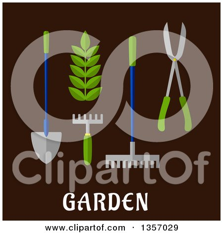 Clipart of Flat Design Garden Tools over Text on Brown - Royalty Free Vector Illustration by Vector Tradition SM