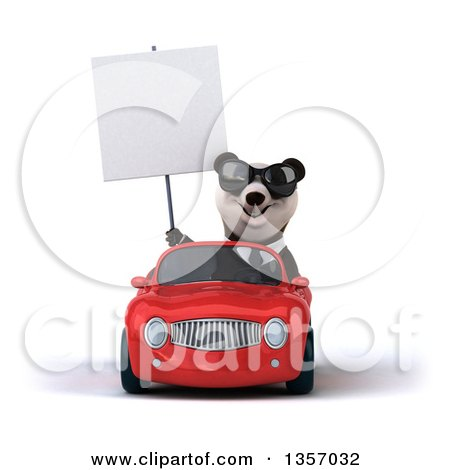 Clipart of a 3d Business Panda Wearing Sunglasses, Holding a Blank Sign and Driving a Red Convertible Car, on a White Background - Royalty Free Illustration by Julos