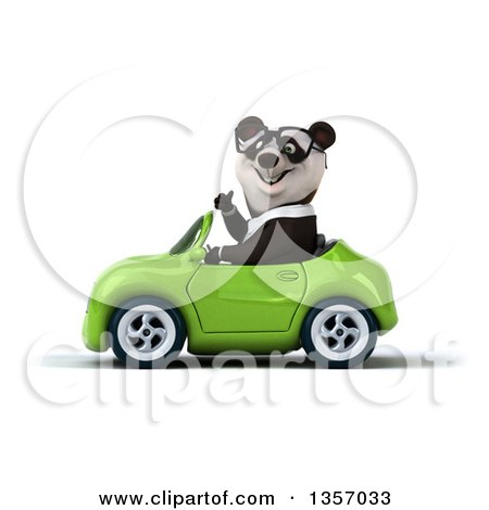 Clipart of a 3d Bespectacled Business Panda Giving a Thumb up and Driving a Green Convertible Car, on a White Background - Royalty Free Illustration by Julos