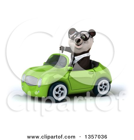 Clipart of a 3d Bespectacled Business Panda Giving a Thumb down and Driving a Green Convertible Car, on a White Background - Royalty Free Illustration by Julos