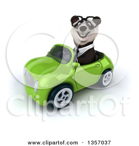 Clipart of a 3d Bespectacled Business Panda Driving a Green Convertible Car, on a White Background - Royalty Free Illustration by Julos