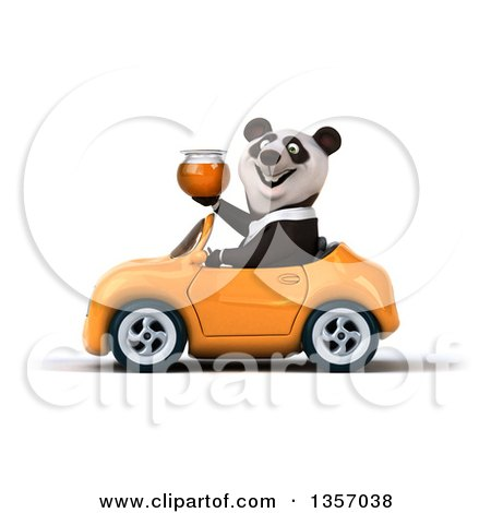 Clipart of a 3d Business Panda Holding a Honey Jar and Driving an Orange Convertible Car, on a White Background - Royalty Free Illustration by Julos