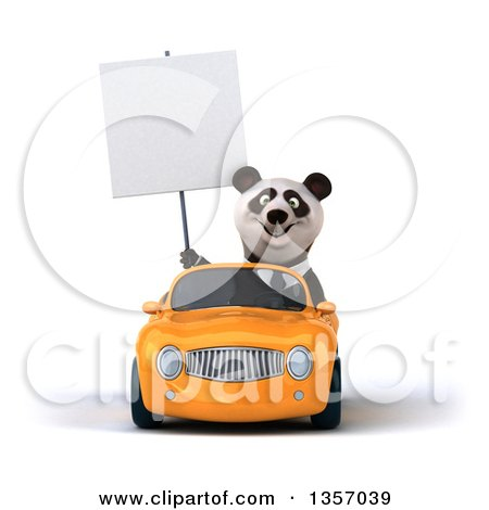 Clipart of a 3d Business Panda Holding a Blank Sign and Driving an Orange Convertible Car, on a White Background - Royalty Free Illustration by Julos