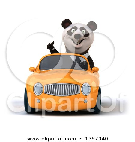Clipart of a 3d Business Panda Giving a Thumb up and Driving an Orange Convertible Car, on a White Background - Royalty Free Illustration by Julos