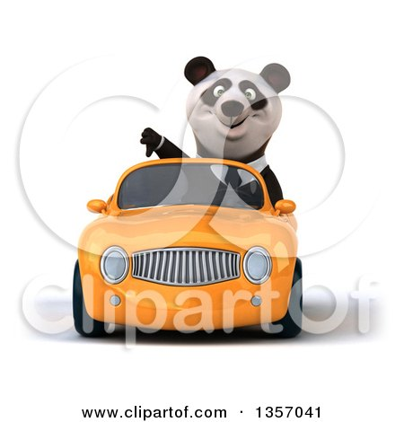 Clipart of a 3d Business Panda Giving a Thumb down and Driving an Orange Convertible Car, on a White Background - Royalty Free Illustration by Julos