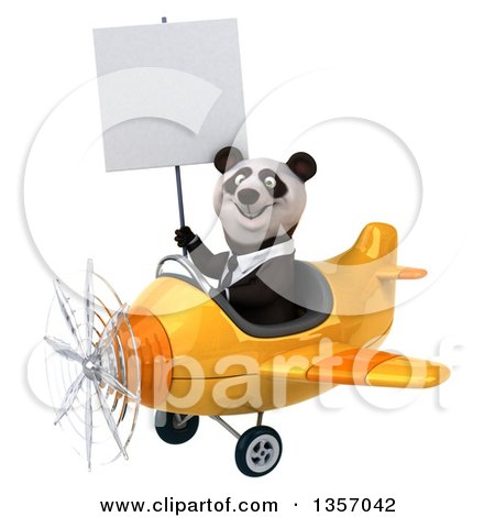 Clipart of a 3d Business Panda Holding a Blank Sign and Flying a Yellow Airplane, on a White Background - Royalty Free Illustration by Julos
