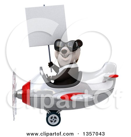 Clipart of a 3d Business Panda Wearing Sunglasses, Holding a Blank Sign and Flying a White and Red Airplane, on a White Background - Royalty Free Illustration by Julos