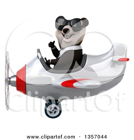 Clipart of a 3d Business Panda Wearing Sunglasses, Giving a Thumb up and Flying a White and Red Airplane, on a White Background - Royalty Free Illustration by Julos