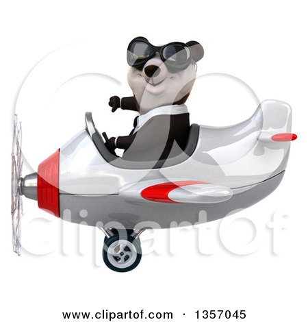 Clipart of a 3d Business Panda Wearing Sunglasses, Giving a Thumb down and Flying a White and Red Airplane, on a White Background - Royalty Free Illustration by Julos