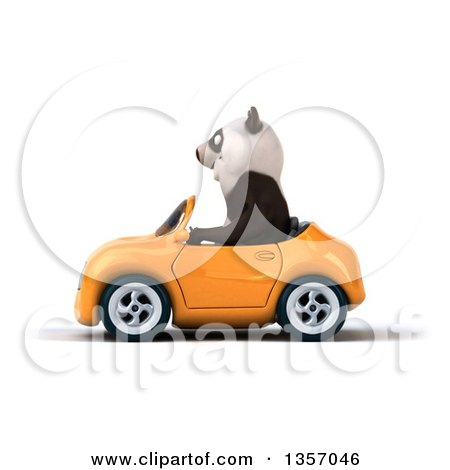 Clipart of a 3d Panda Driving an Orange Convertible Car, on a White Background - Royalty Free Illustration by Julos