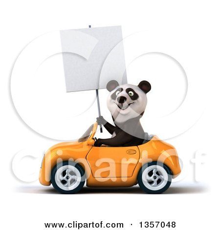 Clipart of a 3d Panda Holding a Blank Sign and Driving an Orange Convertible Car, on a White Background - Royalty Free Illustration by Julos
