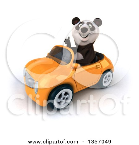 Clipart of a 3d Panda Giving a Thumb up and Driving an Orange Convertible Car, on a White Background - Royalty Free Illustration by Julos