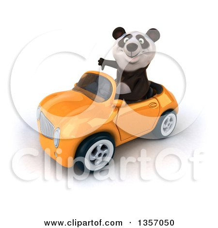 Clipart of a 3d Panda Giving a Thumb down and Driving an Orange Convertible Car, on a White Background - Royalty Free Illustration by Julos