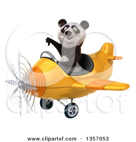 Clipart of a 3d Panda Aviator Pilot Giving a Thumb down and Flying a Yellow Airplane, on a White Background - Royalty Free Illustration by Julos
