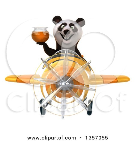 Clipart of a 3d Panda Aviator Pilot Holding a Honey Jar and Flying a Yellow Airplane, on a White Background - Royalty Free Illustration by Julos
