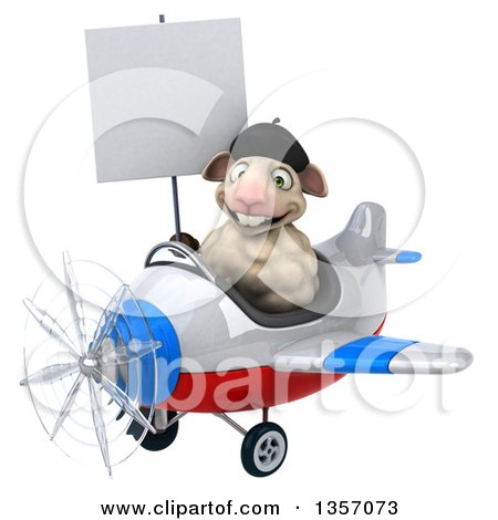 Clipart of a 3d French Sheep Aviatior Pilot Holding a Blank Sign and Flying a White Blue and Red Airplane, on a White Background - Royalty Free Illustration by Julos